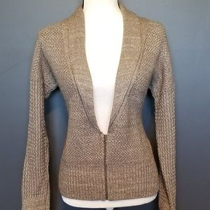 Sweaters - LOFT Ann Taylor Oatmeal and Gold Zippered Cardigan